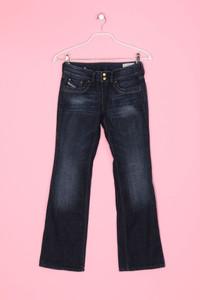 DIESEL - Used Look Schlag-Jeans mit Logo-Applikation - XS