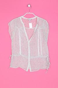 Massimo Dutti - Crinkle-Kurzarm-Bluse mit floralem Muster - S