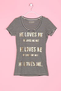 GUESS Los Angeles - Streifen-Shirt mit Statement-Print - M
