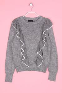 TOPSHOP - Strick-Pullover mit Volants aus Viskose-Blend - M