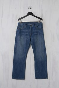 LEVI STRAUSS & CO. - Used Look-Jeans mit Logo-Patch - L