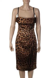 DOLCE & GABBANA - Seiden-Kleid mit Leo-Print - M